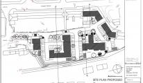 Site Plan proposed | PA15/10513 | Demolition of existing warehouse type building comprising 3,600 square metres of floorspace and the erection of a 70 unit residential development comprising 2no. 2-bed houses, 1no. 4-bed house, 10no one-bed flats and 57no